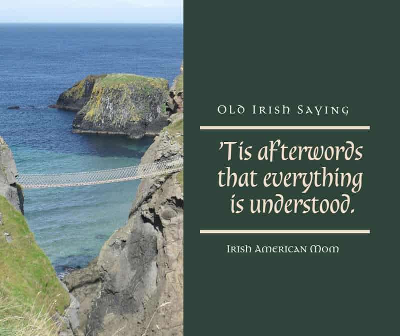 Text beside an image of a rope bridge over an ocean inlet