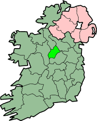 Map of Ireland featuring county borders