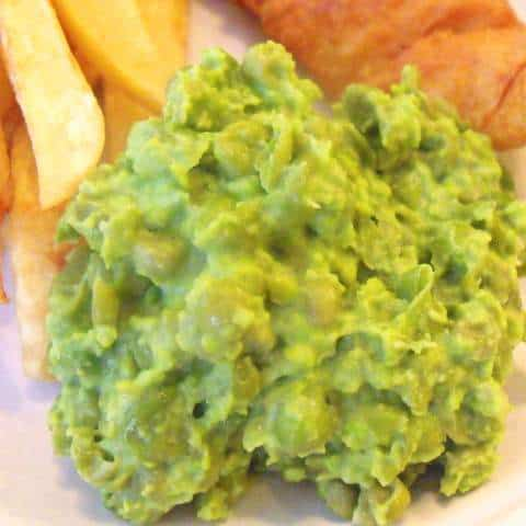 Mushy peas with cod and chips