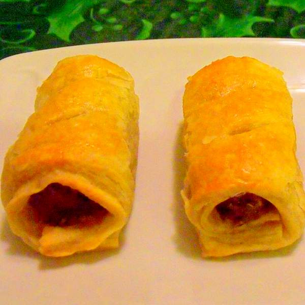 Irish homemade sausage rolls on a plate