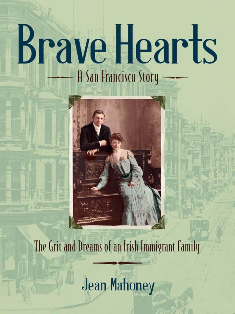 Book cover featuring a vintage image of a man and woman by a dark wooden bench