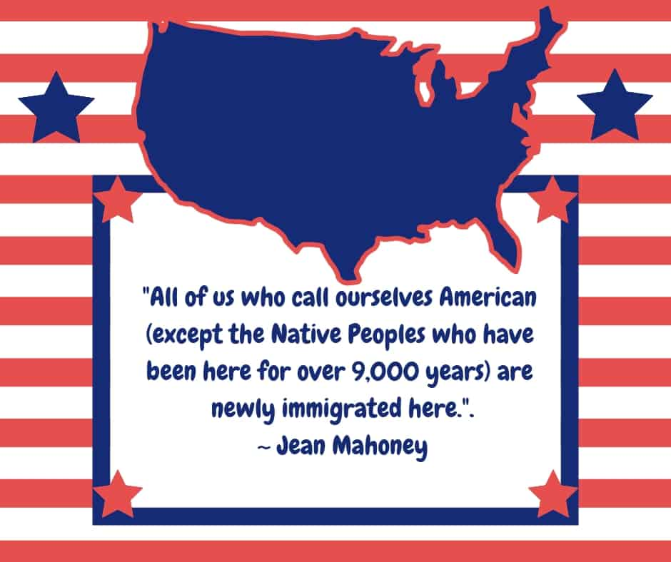 Text on a graphic featuring red and white stripes and a blue map of the United States of America