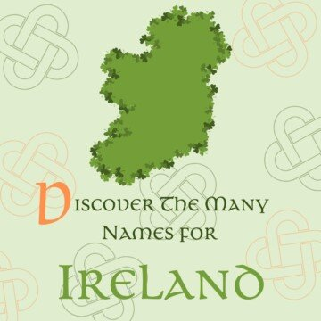 Green map of the island of Ireland with a shamrock border and surrounded by text and Celtic symbols