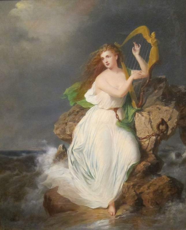 The goddess Erin with a Harp sitting on a rock by the ocean