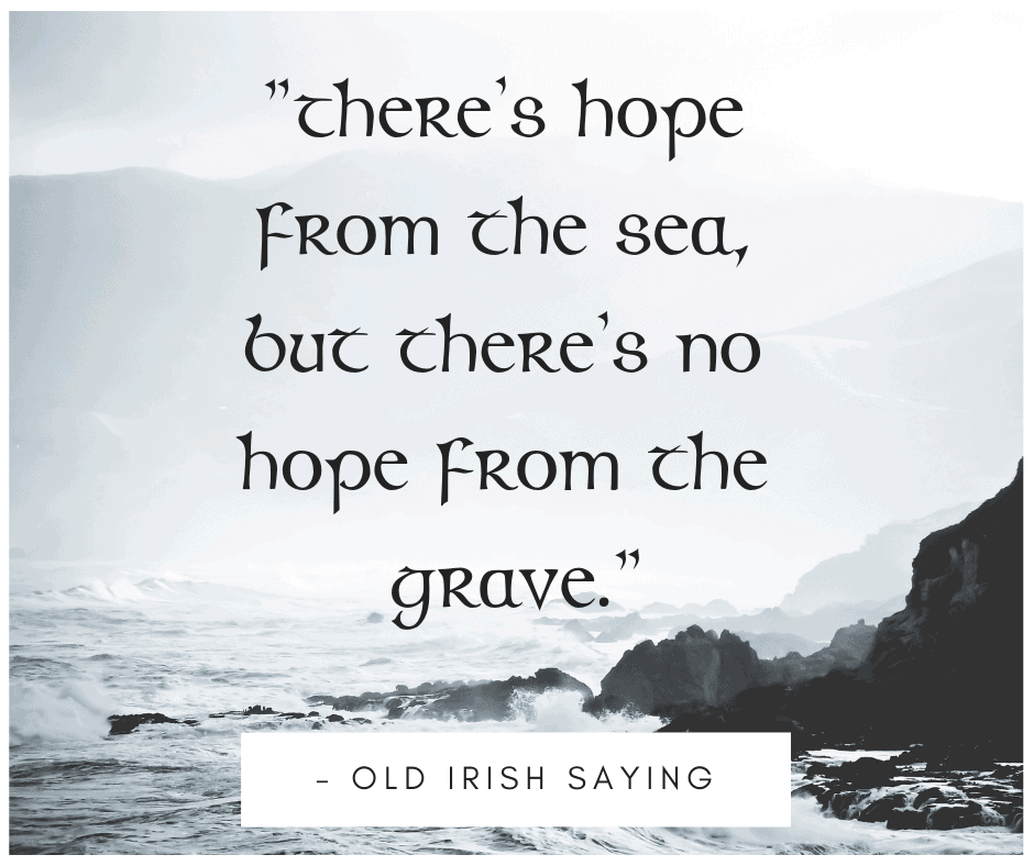 Text on a gray graphic featuring the waves crashing on a rocky shoreline