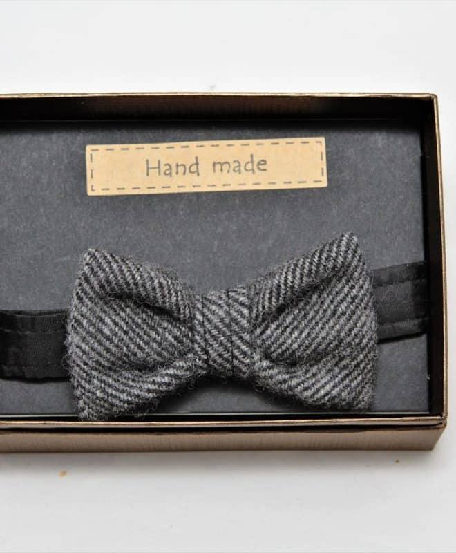 Boys Herringbone tweed handmade bow tie in a gift box