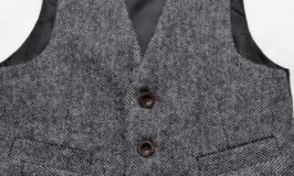 Boys black and while Donegal tweed vest
