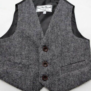 Boys black and white Donegal tweed vest