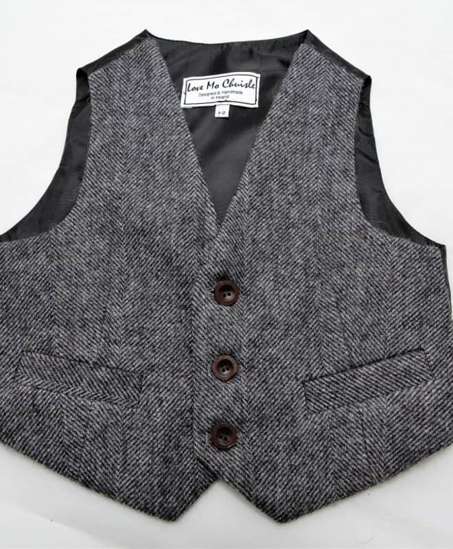 Herringbone black and white tweed vest with buttons for a boy child