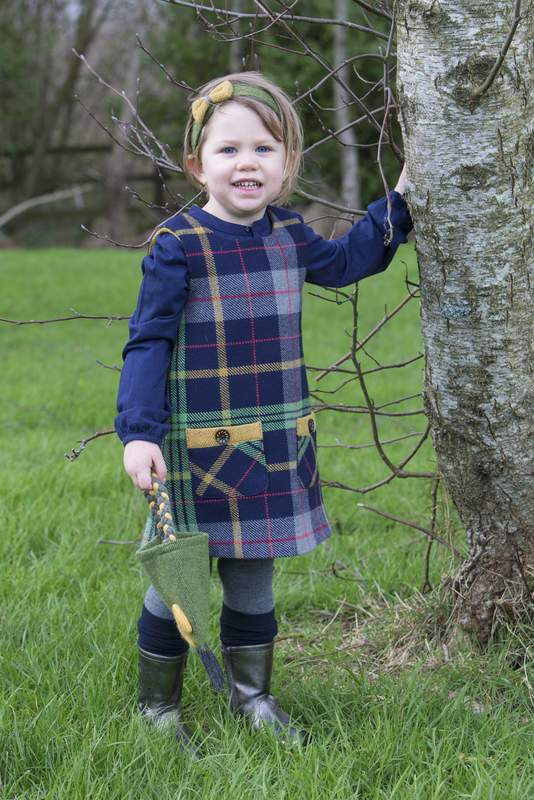 Girls navy and blue plaid tweed jumper with matching bag