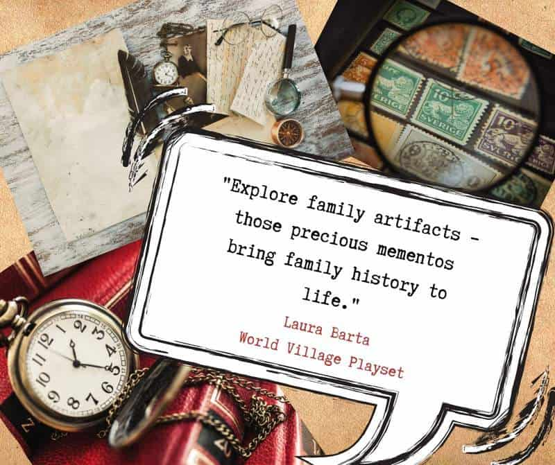 Explore family artifacts graphic featuring old books, stamps and a pocket watch
