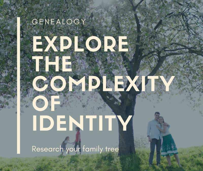 Complexity of Identity graphic featuring a family beside a tree