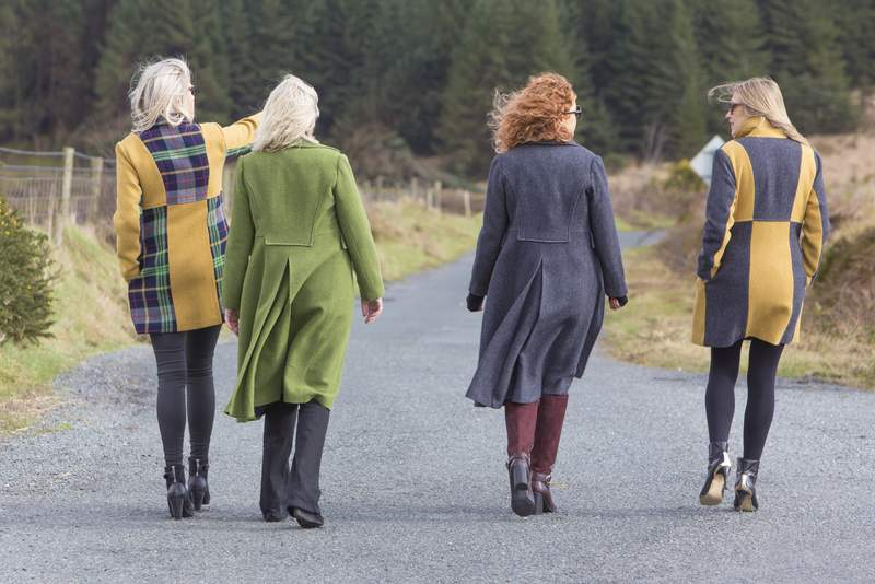 Ladies tweed coats from Ireland in blue, green, yellow and plaid