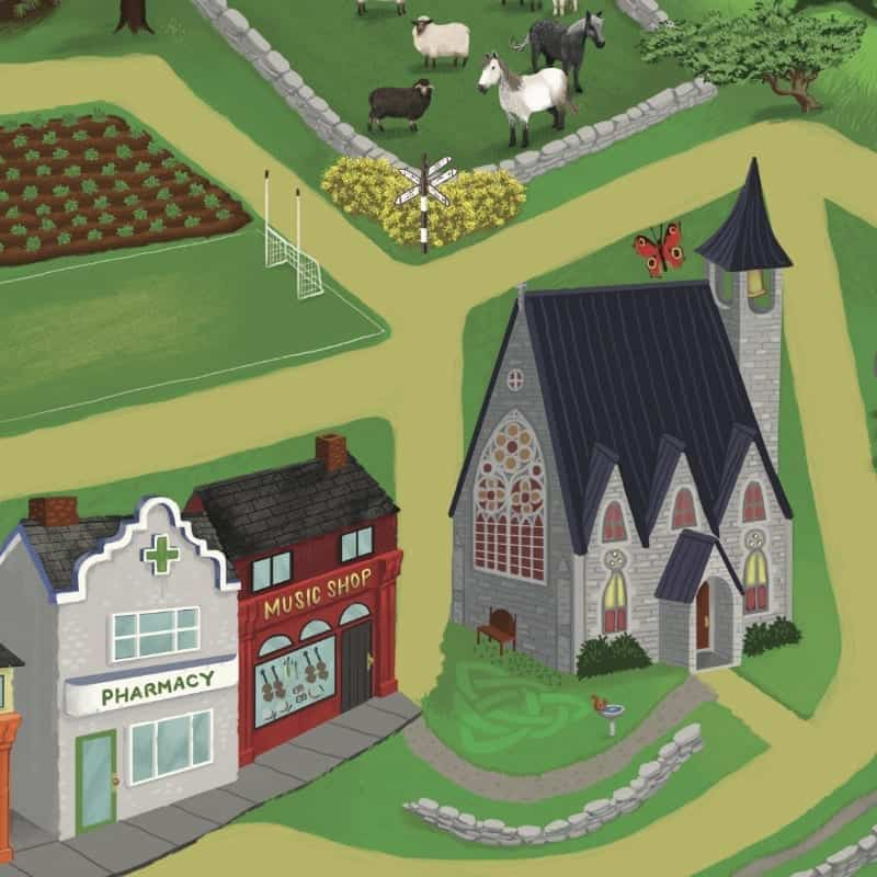 A play mat featuring a church and an playing field with a goal post
