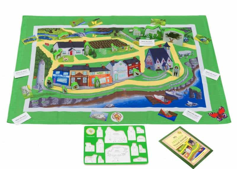 A play mat featuring an Irish village scene
