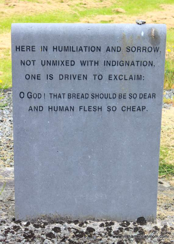 Memorial stone inscribed with a quotation about the Irish Famine
