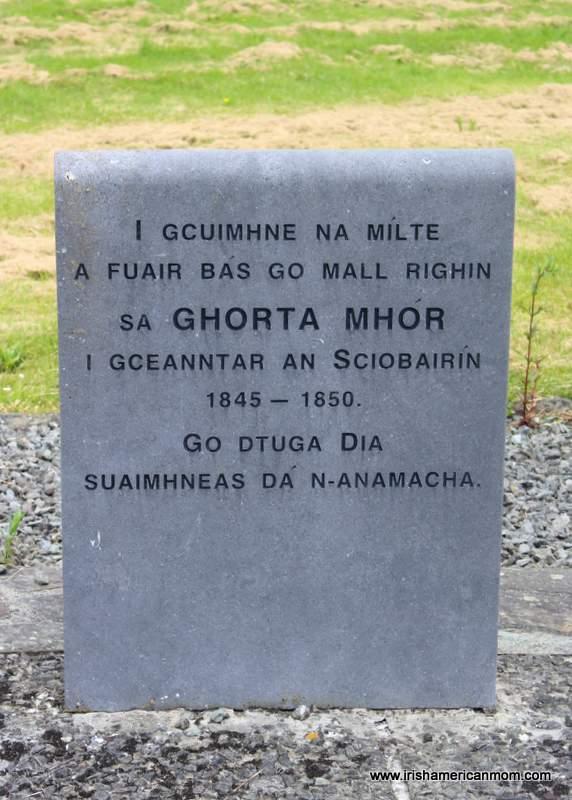 Gaelic or Irish language Famine Memorial Stone