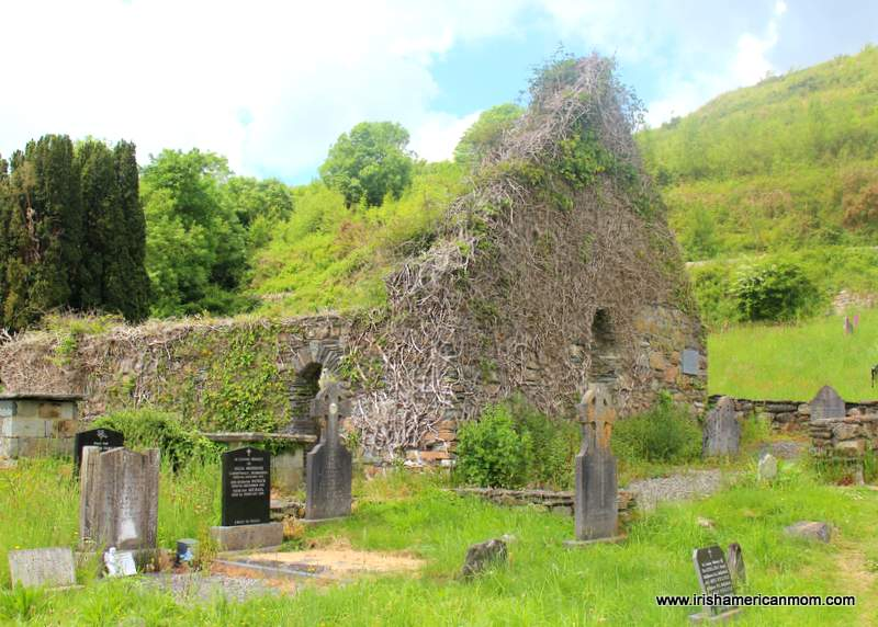 Roofless ruined stone church in a Skibbereen grave yard