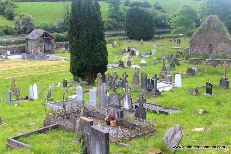 Graves and headstones at the Abbey graveyard in Skibbereen beside the mass unmarked grave