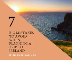 The setting sun by Irish cliffs graphic for mistakes to avoid when planning a trip to Ireland