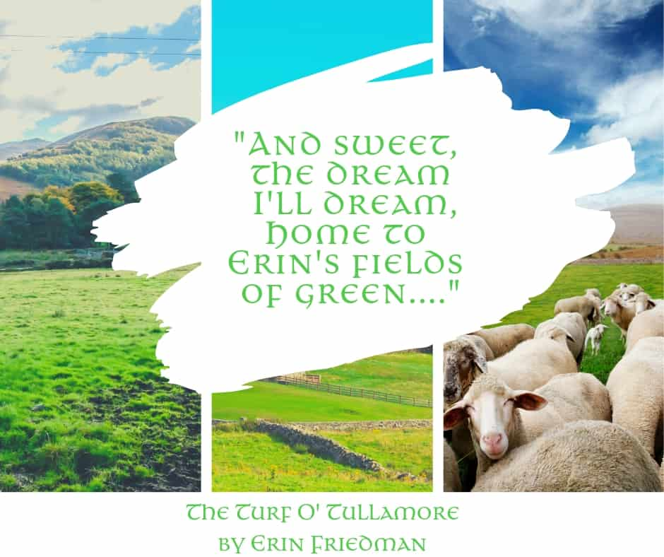 "Irish fields of green graphic featuring three images and the quotation ""and sweet the dream I'll dream, home to Erin's fields of green."""