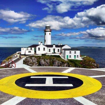 The helicopter pad in front of a Donegal lighthouse on Fanad Peninsula