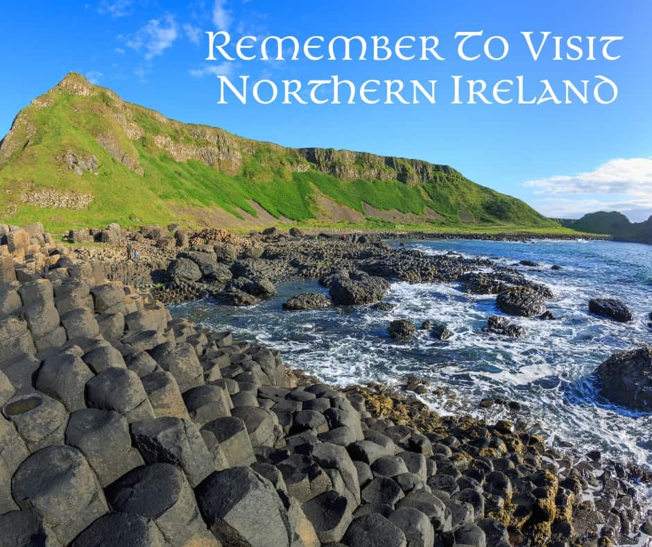 The Giant's Causeway showing the hexagonal stone pillars by the ocean