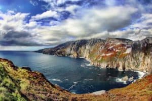 Blue sky with clouds over the Slieve League Cliffs in County Donegal