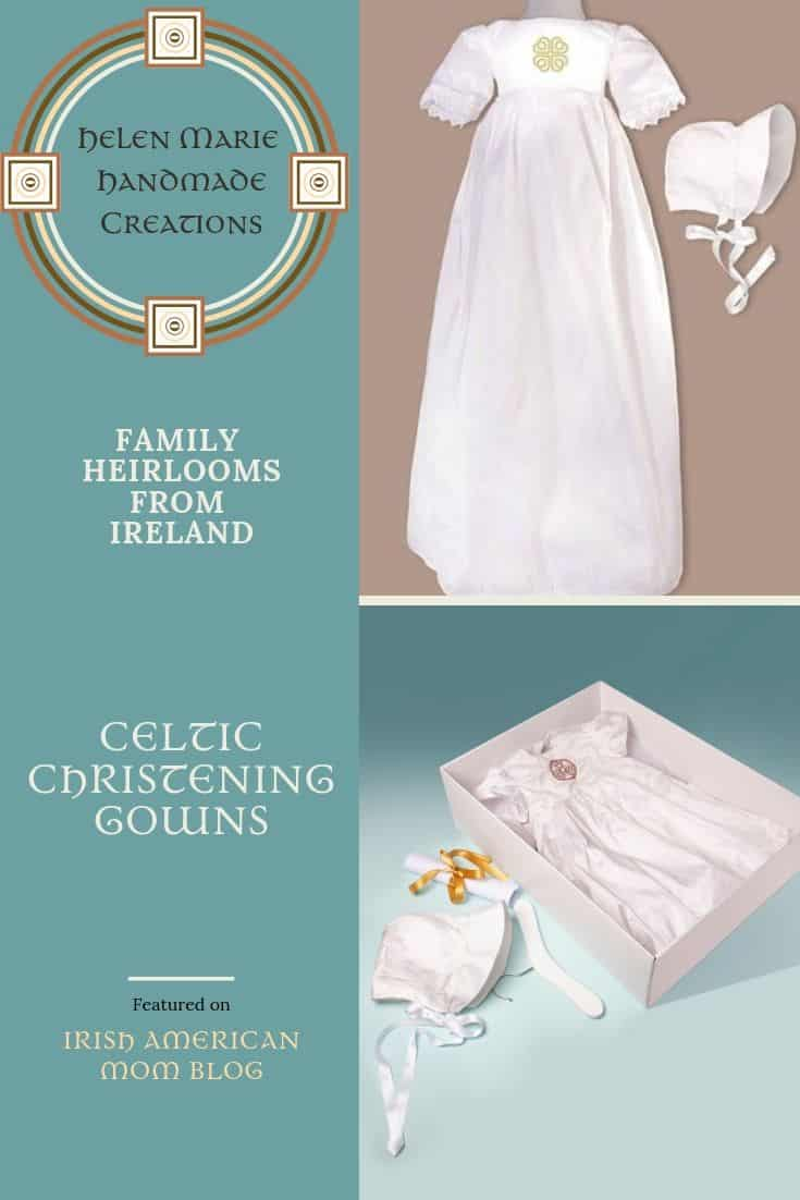 Handcrafted silk Irish christening gowns with embroidered Celtic emblem