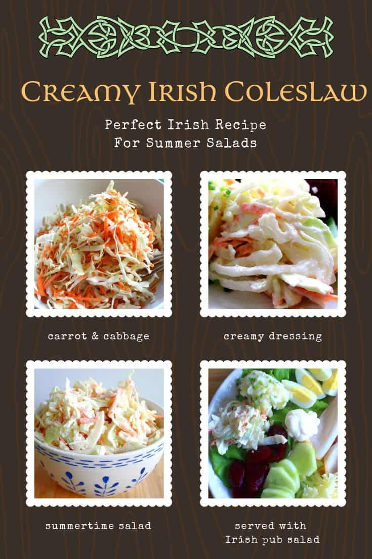 Four image graphic to show how to make and serve Irish coleslaw.