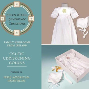 Christening gowns made from silk and embroidered with Celtic designs from Ireland
