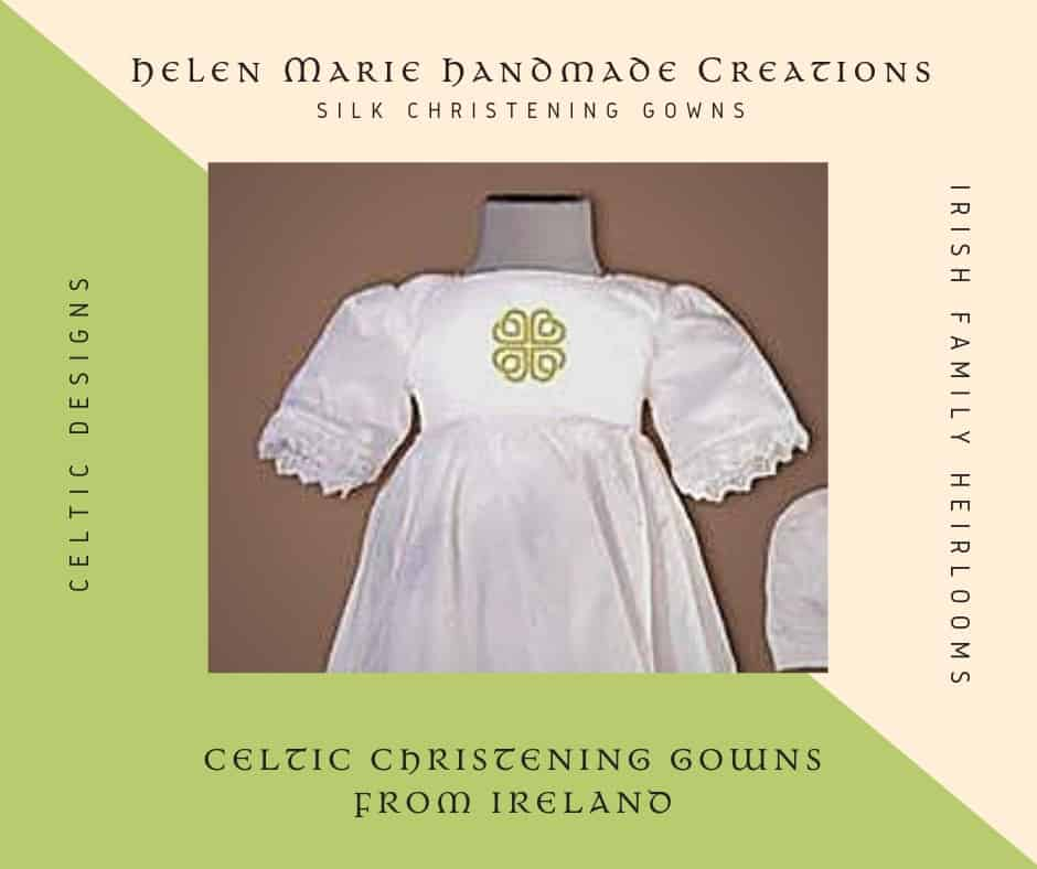 Silk christening gown from Ireland with a Celtic embroidery design for County Dublin