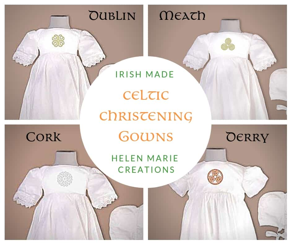 Celtic designs for counties of Ireland featured on silk christening gowns