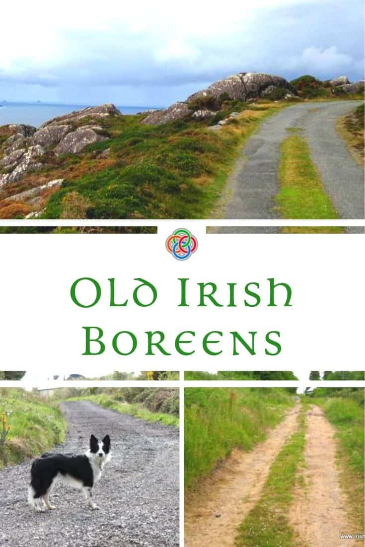 Irish boreen or rural country road with a grass strip or median.