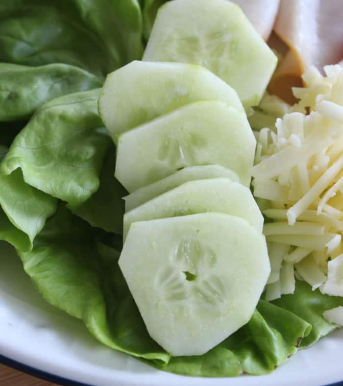 Peeled sliced cucumber
