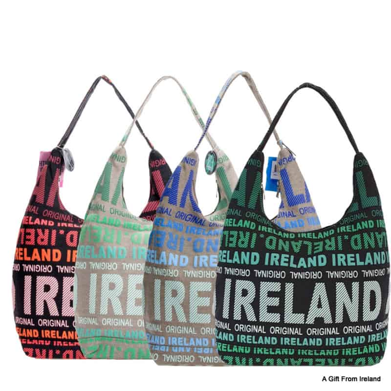 Four canvas shoulder bags with an Ireland logo