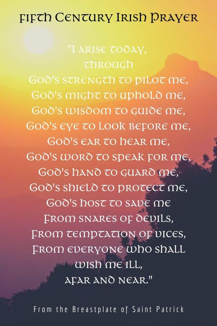 Quotation graphic showing a rising sun and an excerpt from the Breastplate of Saint Patrick