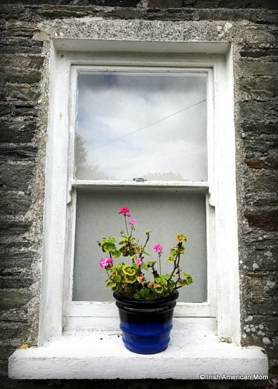 A vase of flowers sitting on a ledge in front of a window