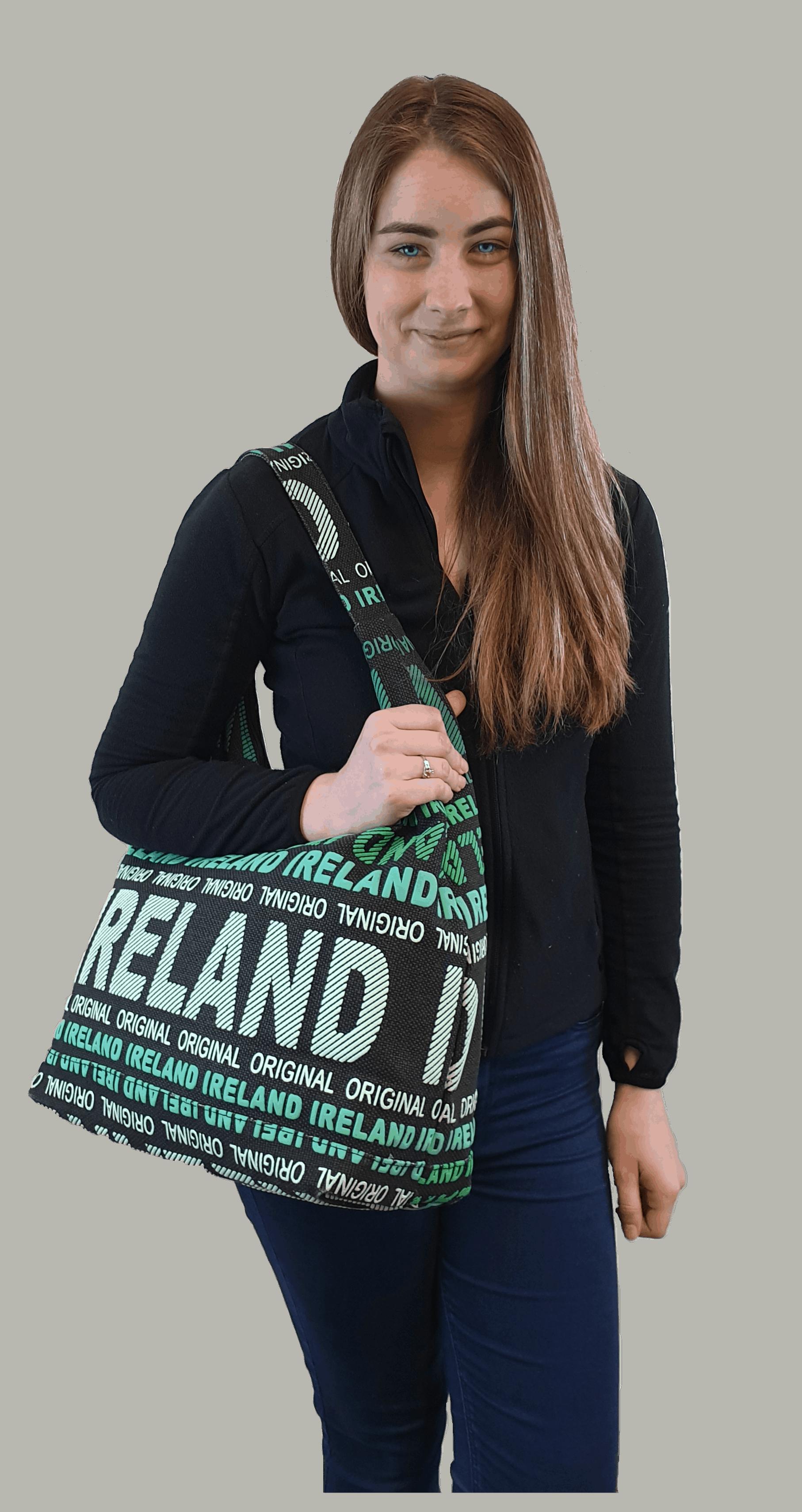 Canavas bag with Ireland logo worn over the shoulder