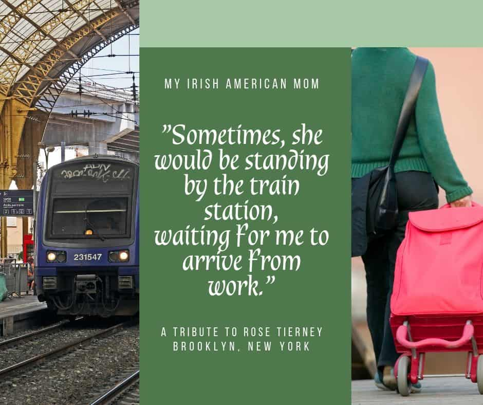 Graphic with a train and a woman pulling a wheeled shopping cart