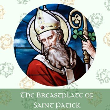 Circular image of a bishop with a crozier on a graphic with Celtic designs and a text banner