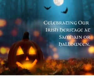Jack O Lantern graphic celebrating the Irish origins of Halloween