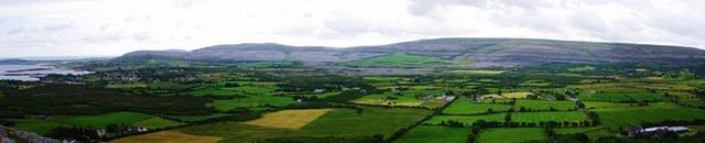 panorama shot of the green fields of Ireland