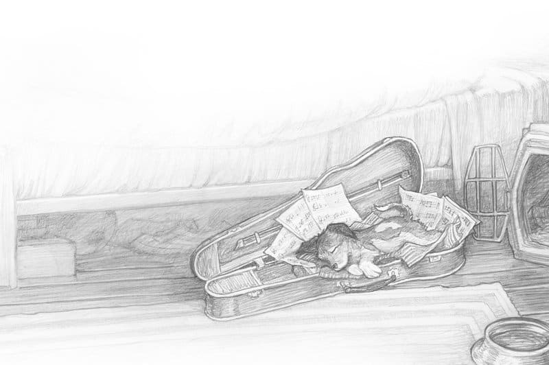 Pencil drawing by PJ Lynch illustrator, from the children's book The Dog Who Lost His Bark