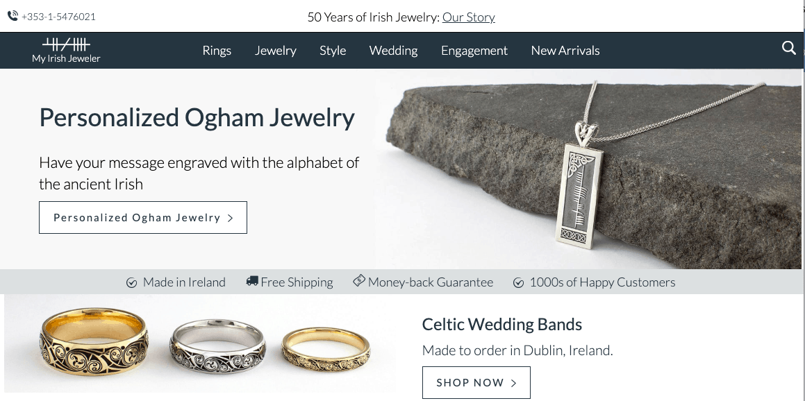 A collection of Irish gifts from My Irish Jeweler