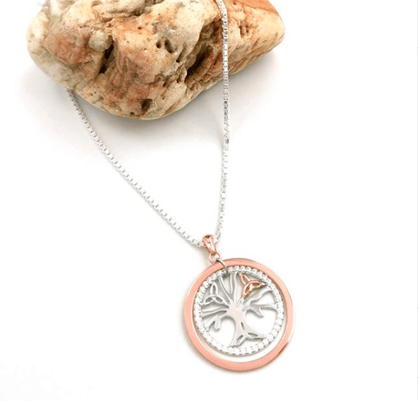 Celtic Tree of Life sterling silver pendant with rose gold surround