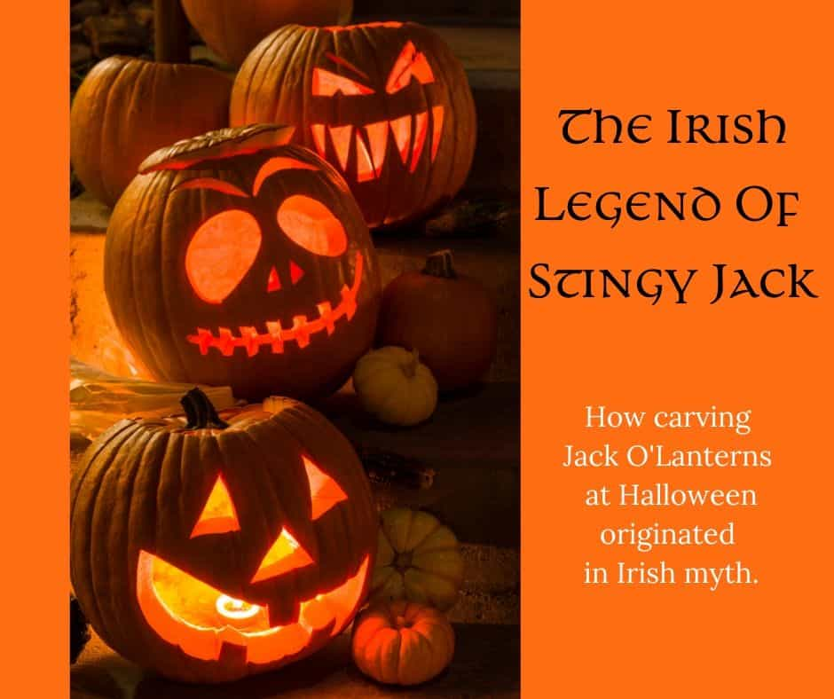 Three Jack O\'Lanterns in a graphic for the Irish legend of Stingy Jack