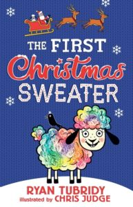Book Cover for The First Christmas Sweater featuring Hillary the Irish Sheep