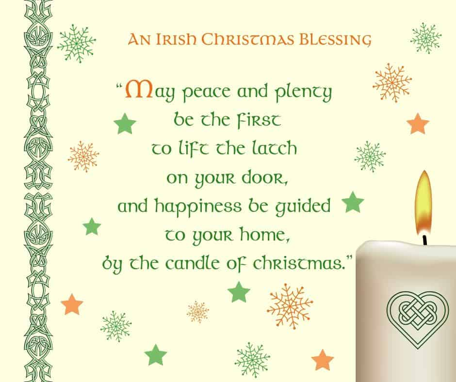 An Irish Christmas Blessing with a Celtic candle and Celtic border