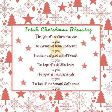 Red and white Christmas tree and snowflake border around a text box with red and green text